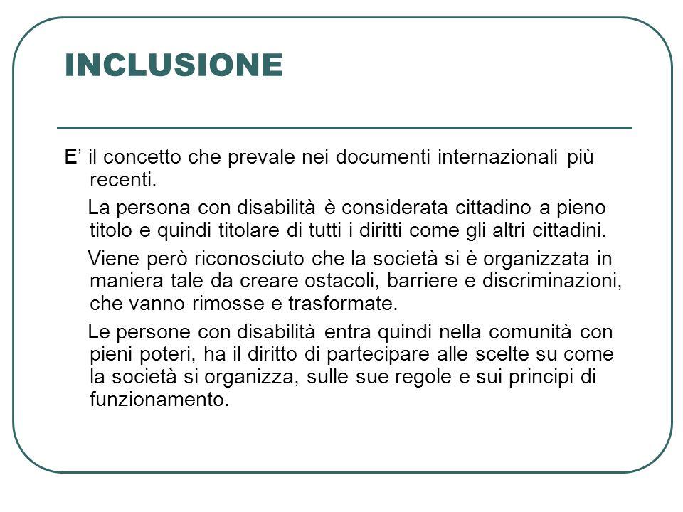 INCLUSIONE E' il concetto che prevale nei documenti internazionali più recenti.