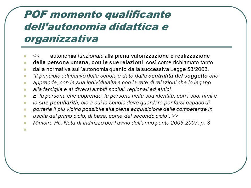 POF momento qualificante dell'autonomia didattica e organizzativa