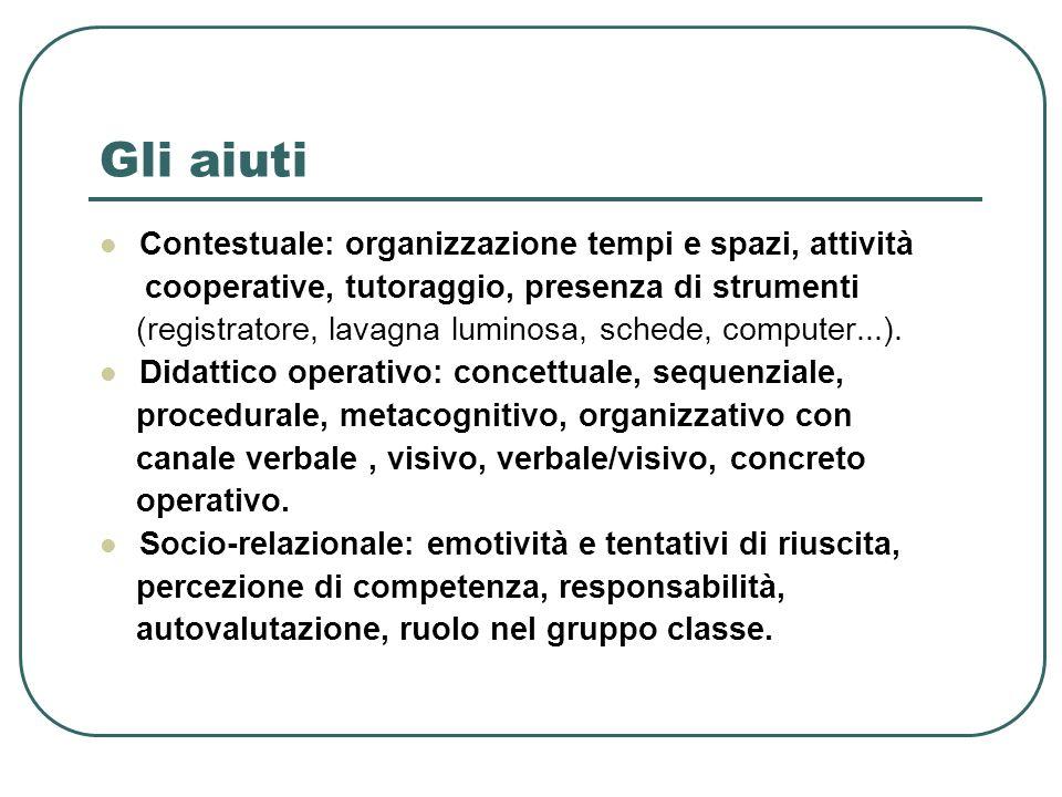 Gli aiuti Contestuale: organizzazione tempi e spazi, attività