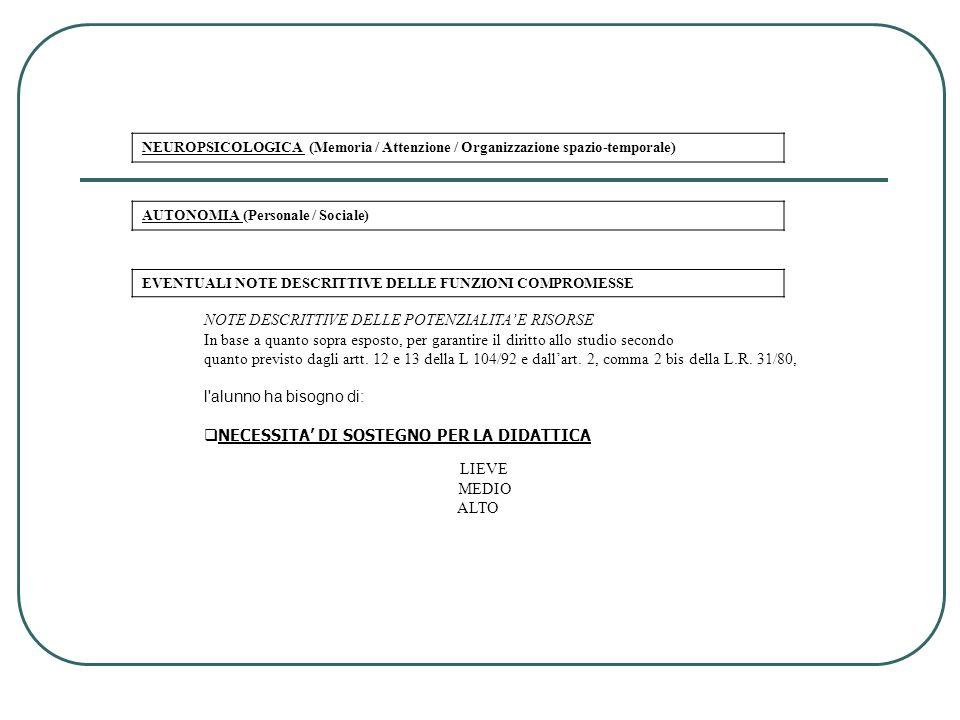 NOTE DESCRITTIVE DELLE POTENZIALITA' E RISORSE