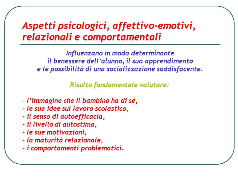 Aspetti psicologici, affettivo-emotivi, relazionali e comportamentali