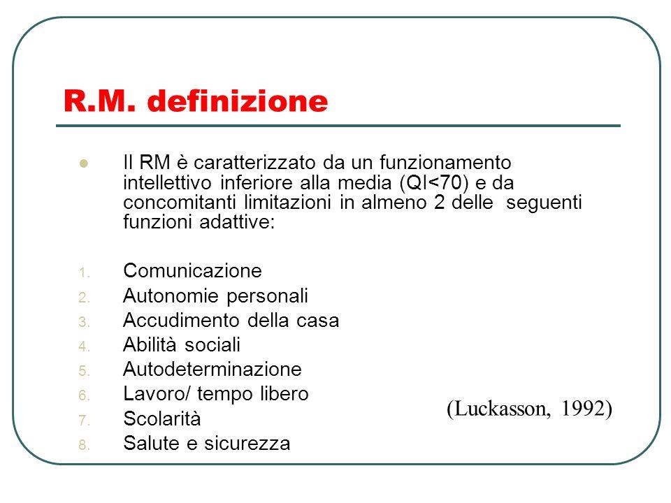 R.M. definizione (Luckasson, 1992)