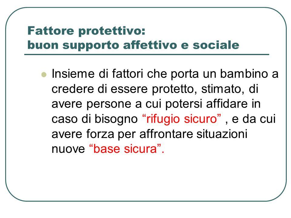 Fattore protettivo: buon supporto affettivo e sociale