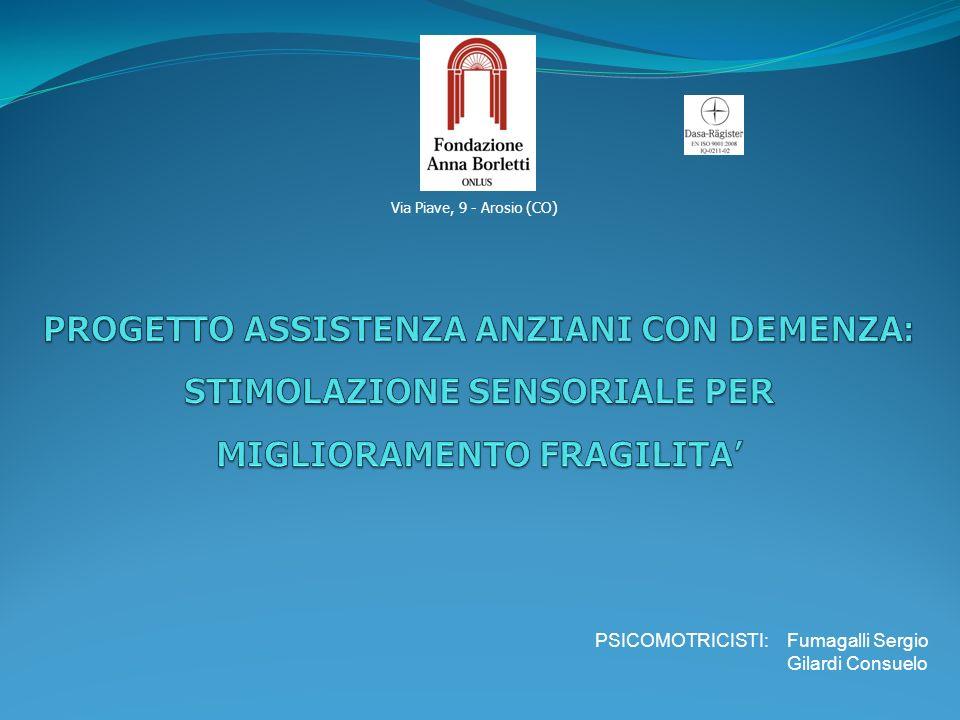 Via Piave, 9 - Arosio (CO) PROGETTO ASSISTENZA ANZIANI CON DEMENZA: STIMOLAZIONE SENSORIALE PER MIGLIORAMENTO FRAGILITA'