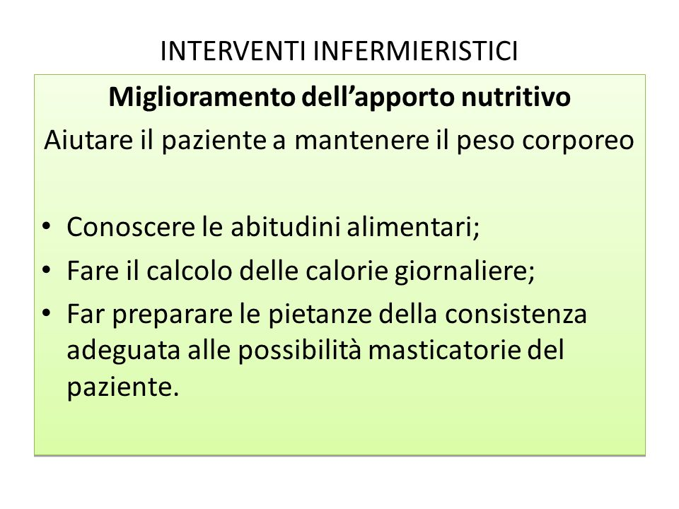 INTERVENTI INFERMIERISTICI