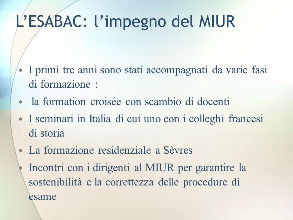 L'ESABAC: l'impegno del MIUR