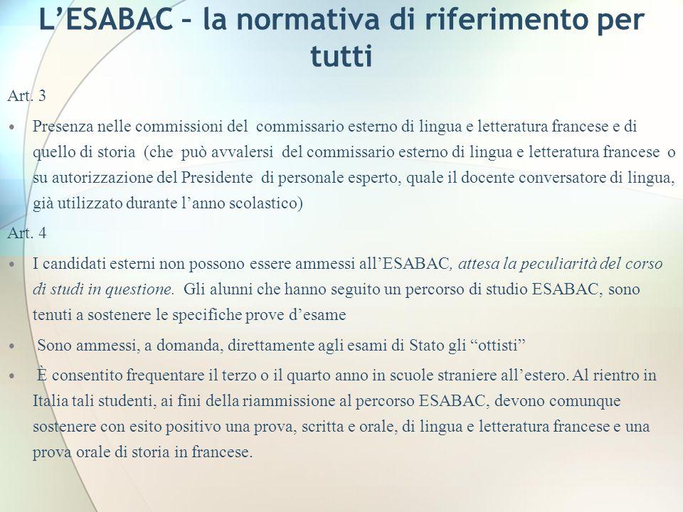 L'ESABAC – la normativa di riferimento per tutti