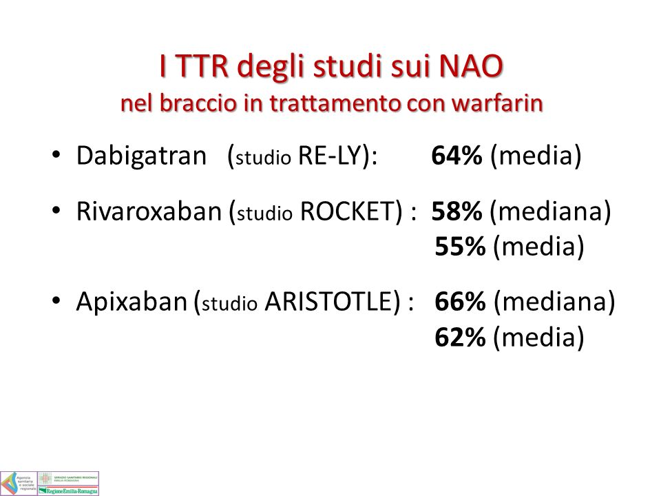 I TTR degli studi sui NAO nel braccio in trattamento con warfarin