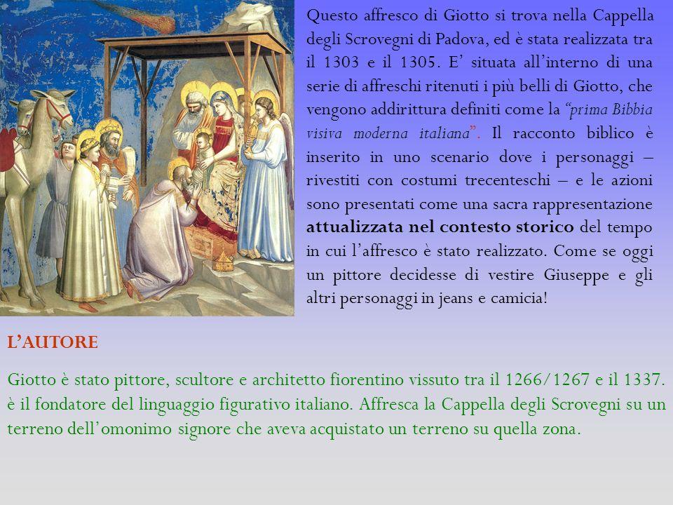 Questo affresco di Giotto si trova nella Cappella degli Scrovegni di Padova, ed è stata realizzata tra il 1303 e il 1305. E' situata all'interno di una serie di affreschi ritenuti i più belli di Giotto, che vengono addirittura definiti come la prima Bibbia visiva moderna italiana . Il racconto biblico è inserito in uno scenario dove i personaggi – rivestiti con costumi trecenteschi – e le azioni sono presentati come una sacra rappresentazione attualizzata nel contesto storico del tempo in cui l'affresco è stato realizzato. Come se oggi un pittore decidesse di vestire Giuseppe e gli altri personaggi in jeans e camicia!