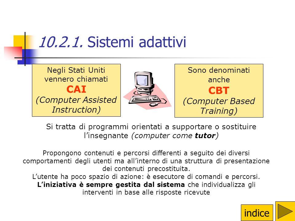 10.2.1. Sistemi adattivi CAI CBT indice