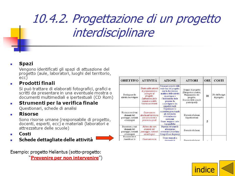 10.4.2. Progettazione di un progetto interdisciplinare