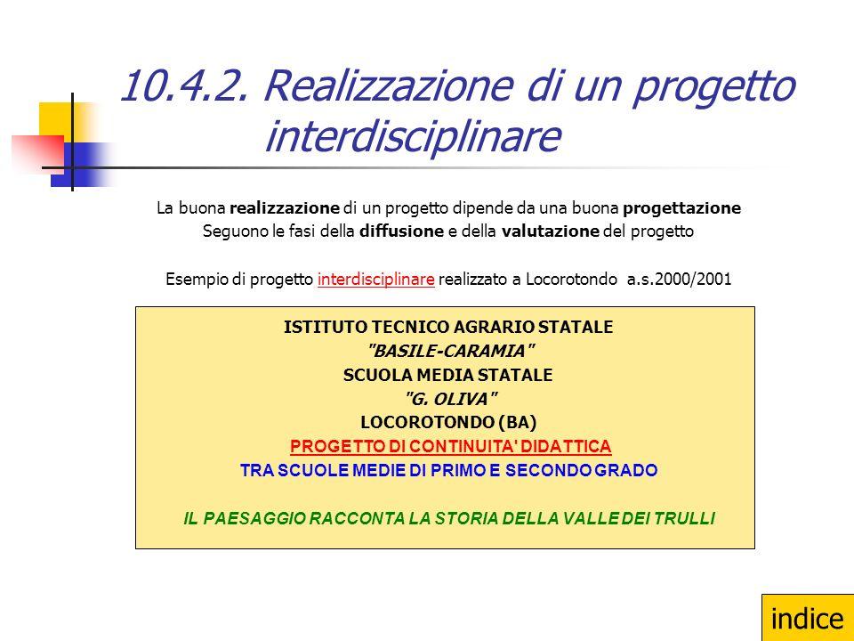 10.4.2. Realizzazione di un progetto interdisciplinare