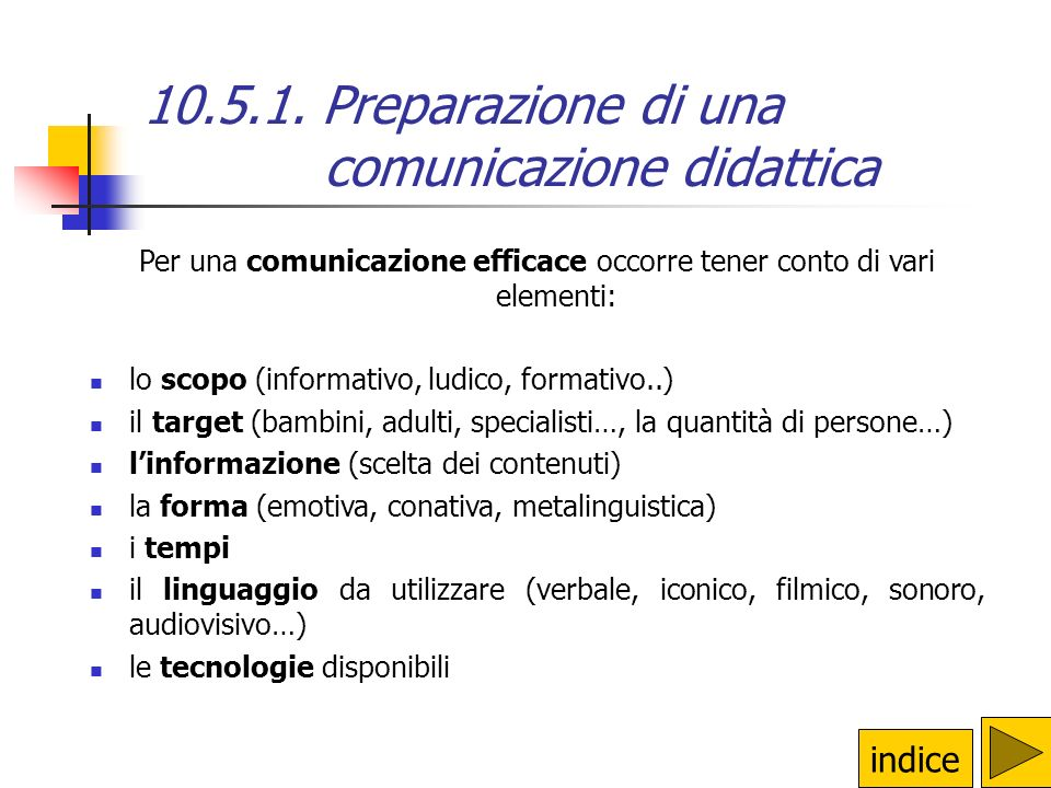 10.5.1. Preparazione di una comunicazione didattica