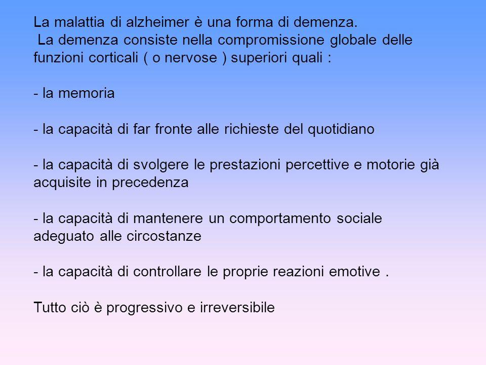 La malattia di alzheimer è una forma di demenza.