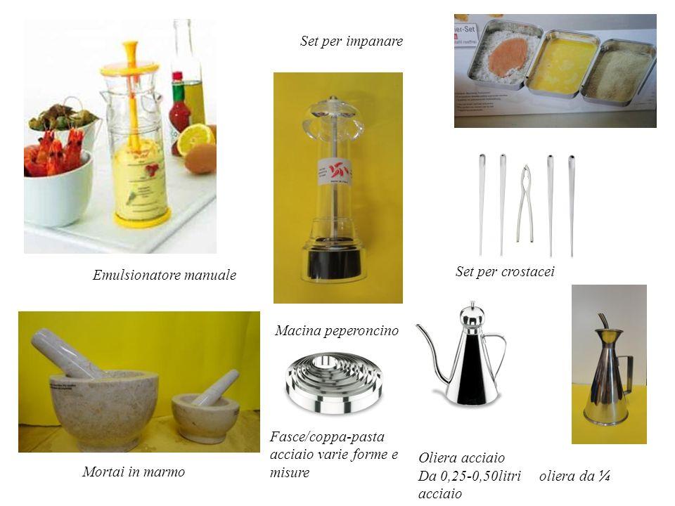 Set per impanare Emulsionatore manuale. Set per crostacei. Macina peperoncino. Fasce/coppa-pasta acciaio varie forme e misure.