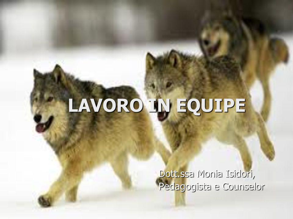 LAVORO IN EQUIPE Dott.ssa Monia Isidori, Pedagogista e Counselor