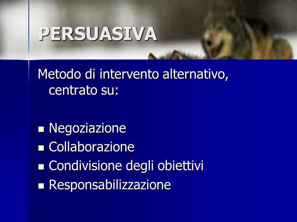 PERSUASIVA Metodo di intervento alternativo, centrato su: Negoziazione