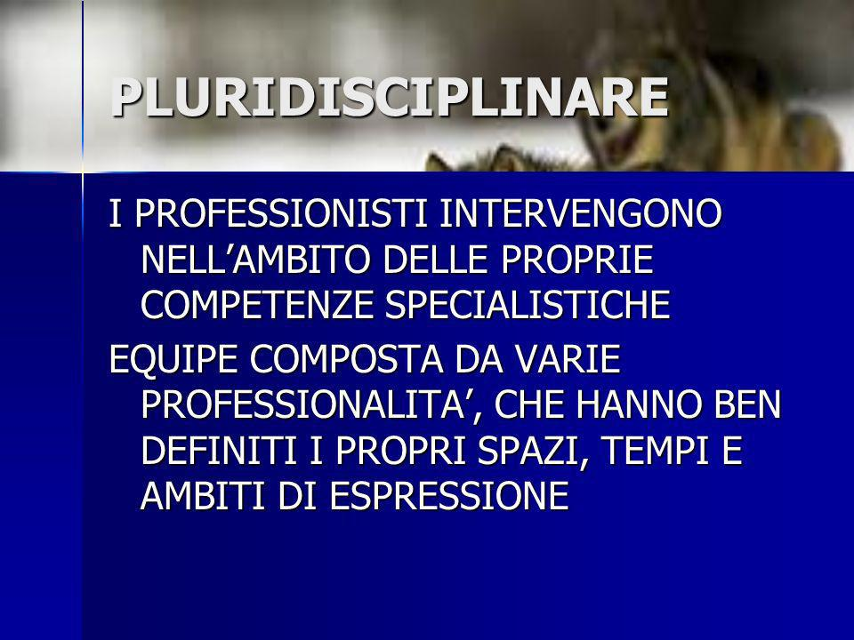 PLURIDISCIPLINARE I PROFESSIONISTI INTERVENGONO NELL'AMBITO DELLE PROPRIE COMPETENZE SPECIALISTICHE.