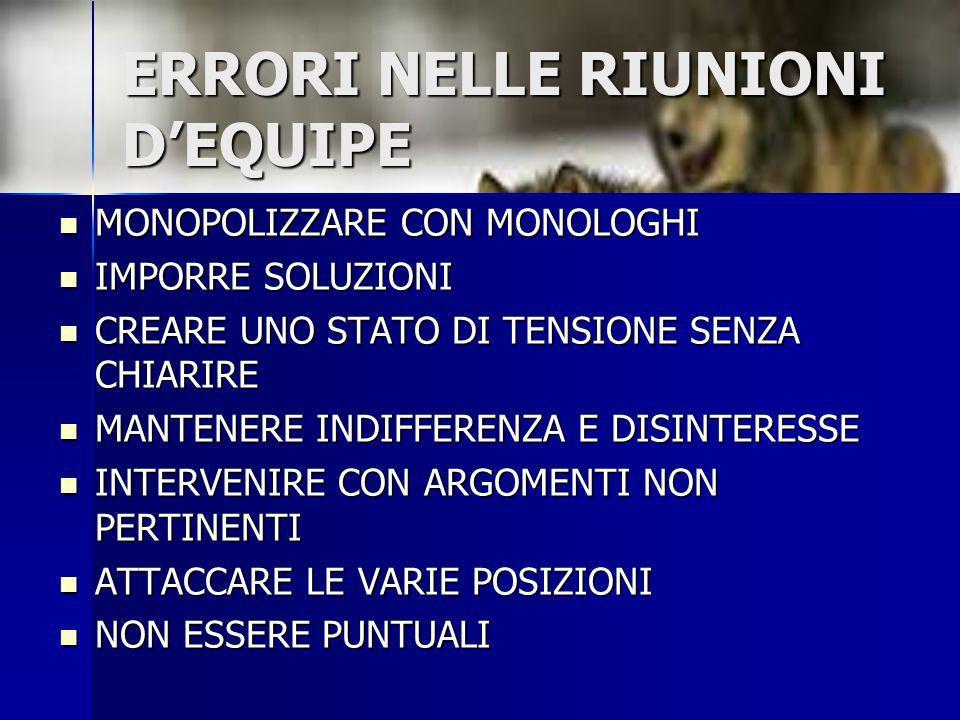 ERRORI NELLE RIUNIONI D'EQUIPE