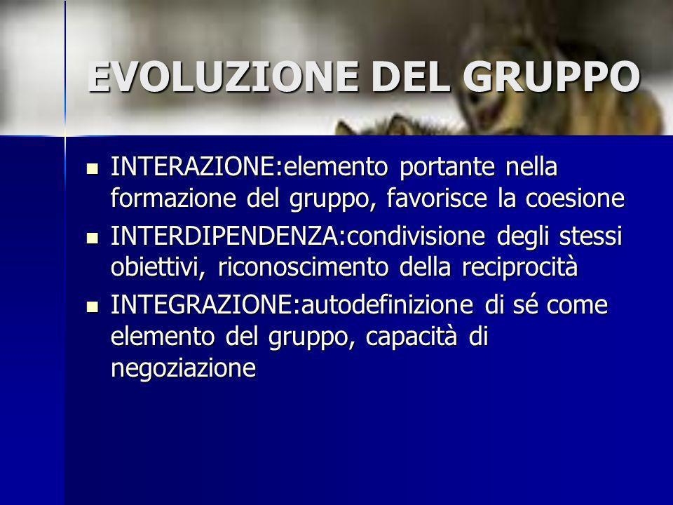 EVOLUZIONE DEL GRUPPO INTERAZIONE:elemento portante nella formazione del gruppo, favorisce la coesione.