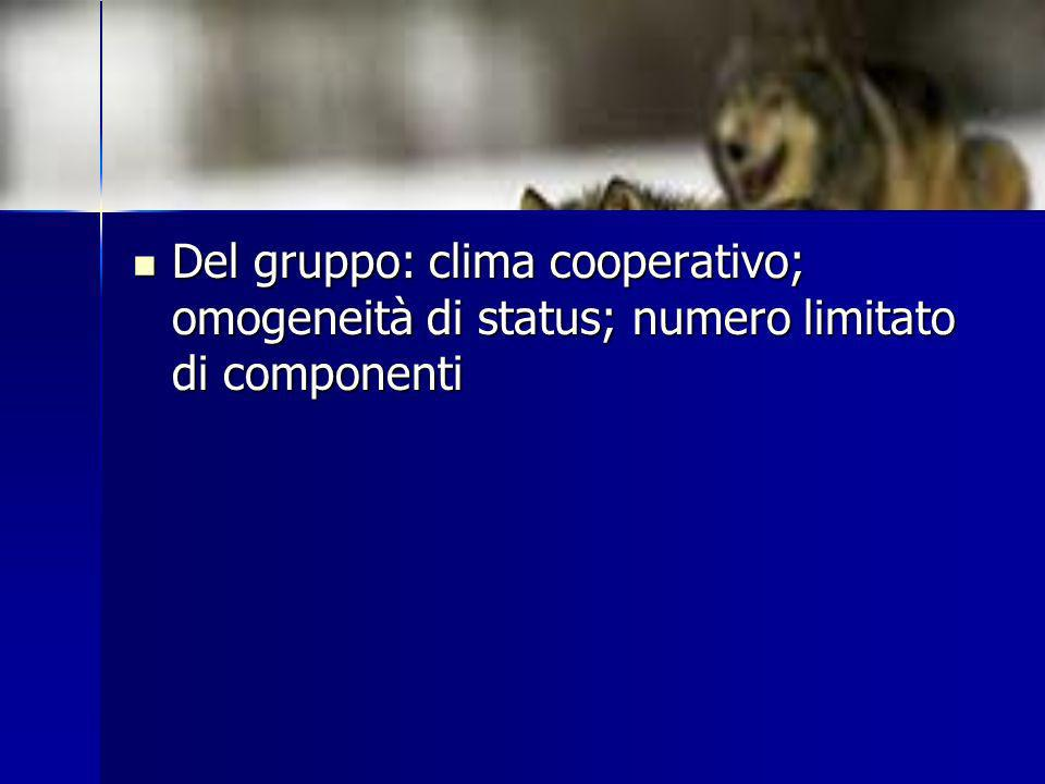 Del gruppo: clima cooperativo; omogeneità di status; numero limitato di componenti