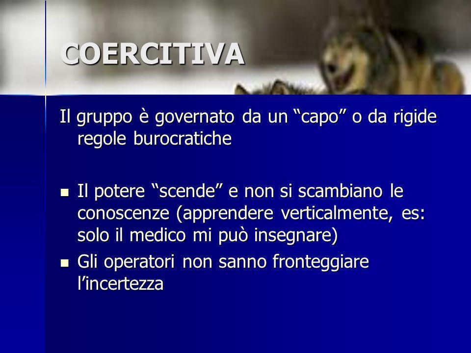 COERCITIVA Il gruppo è governato da un capo o da rigide regole burocratiche.