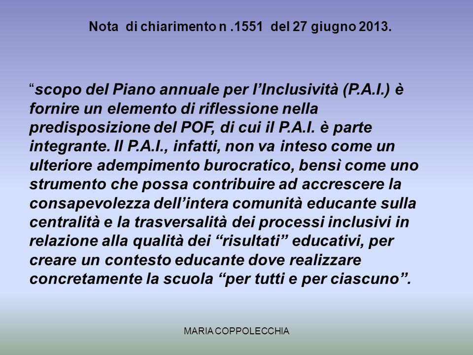 Nota di chiarimento n .1551 del 27 giugno 2013.