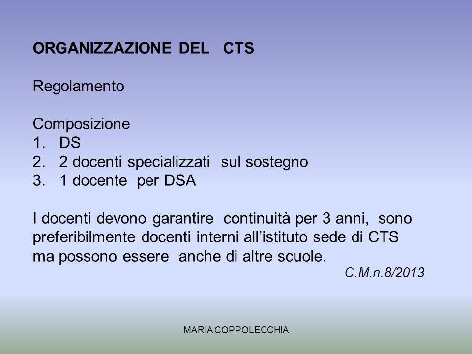 ORGANIZZAZIONE DEL CTS Regolamento Composizione DS