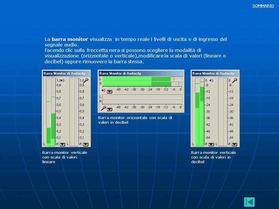 La barra monitor visualizza in tempo reale i livelli di uscita e di ingresso del segnale audio.