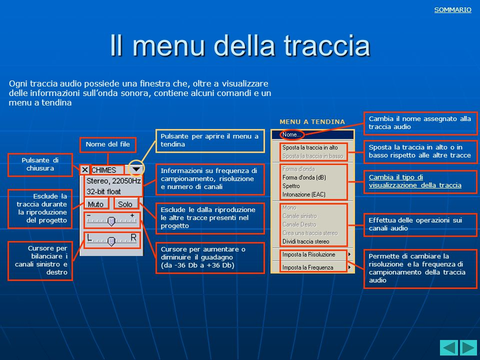 Il menu della traccia