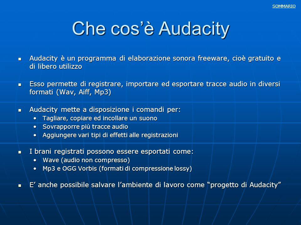 Che cos'è Audacity Audacity è un programma di elaborazione sonora freeware, cioè gratuito e di libero utilizzo.