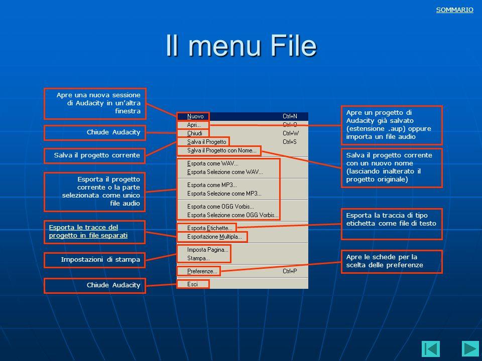 Il menu File Apre una nuova sessione di Audacity in un'altra finestra