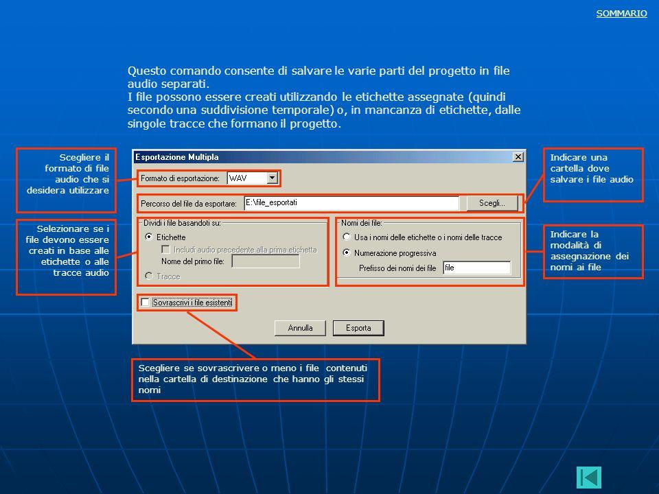 Questo comando consente di salvare le varie parti del progetto in file audio separati.