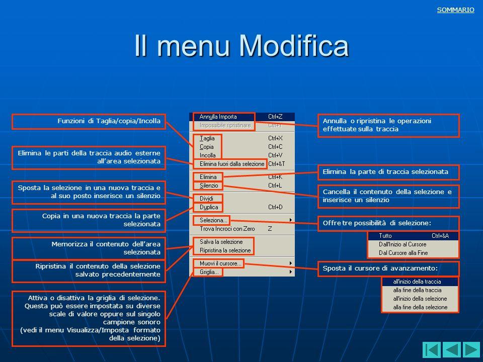 Il menu Modifica Funzioni di Taglia/copia/Incolla