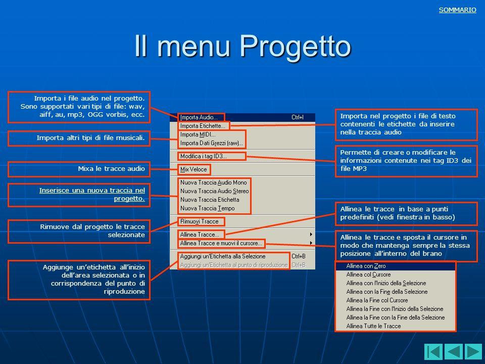 Il menu Progetto Importa i file audio nel progetto.