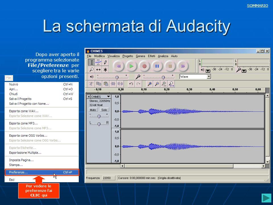 La schermata di Audacity