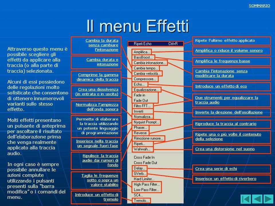 Il menu Effetti Cambia la durata senza cambiare l'intonazione. Ripete l'ultimo effetto applicato.