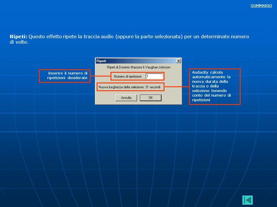 Ripeti: Questo effetto ripete la traccia audio (oppure la parte selezionata) per un determinato numero di volte.