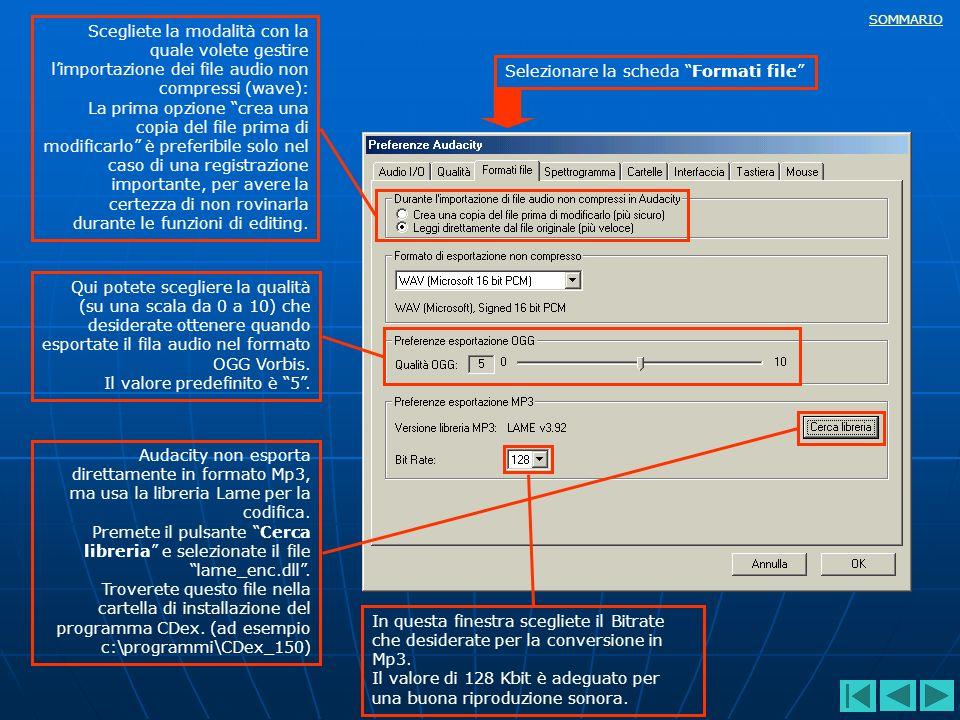Scegliete la modalità con la quale volete gestire l'importazione dei file audio non compressi (wave):