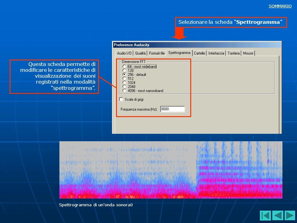 Selezionare la scheda Spettrogramma