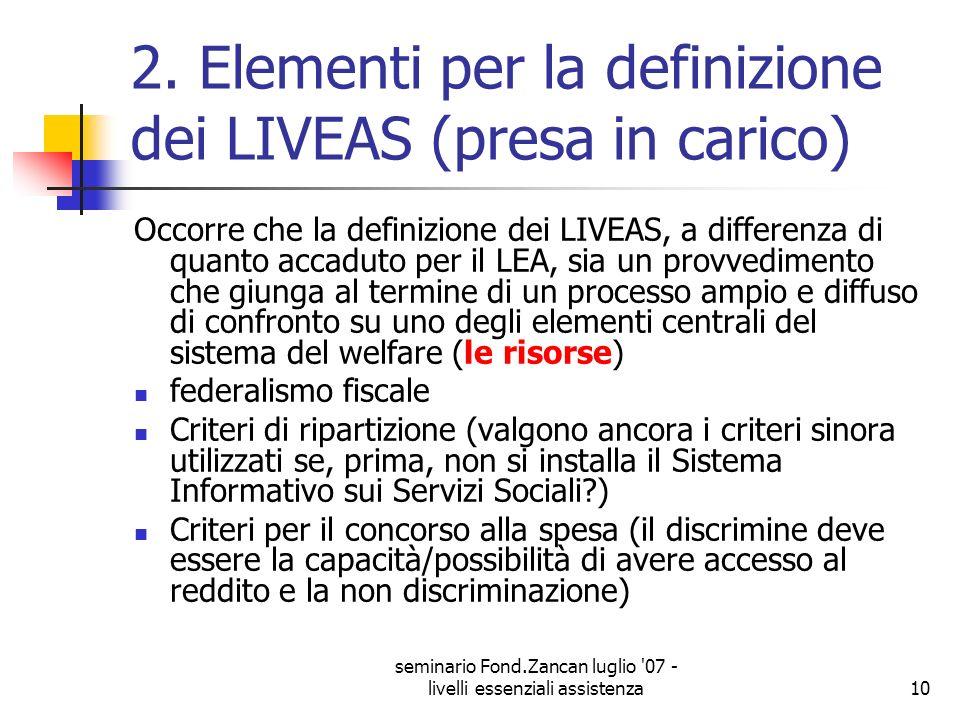 2. Elementi per la definizione dei LIVEAS (presa in carico)