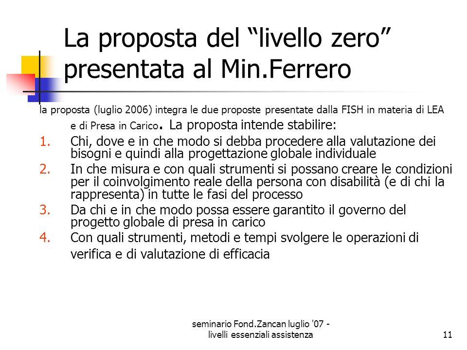 La proposta del livello zero presentata al Min.Ferrero