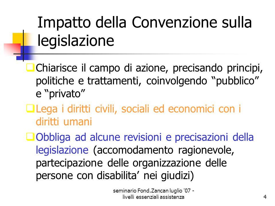 Impatto della Convenzione sulla legislazione
