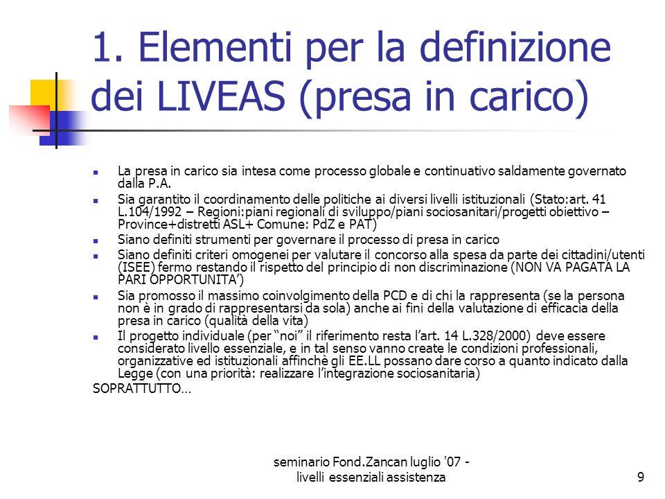 1. Elementi per la definizione dei LIVEAS (presa in carico)