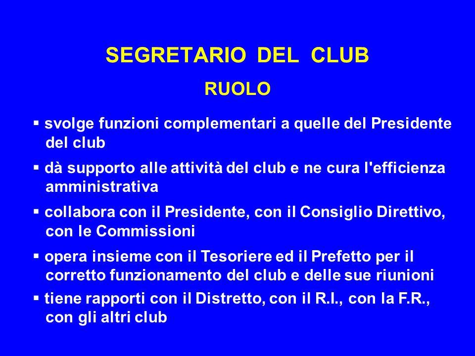 SEGRETARIO DEL CLUB RUOLO