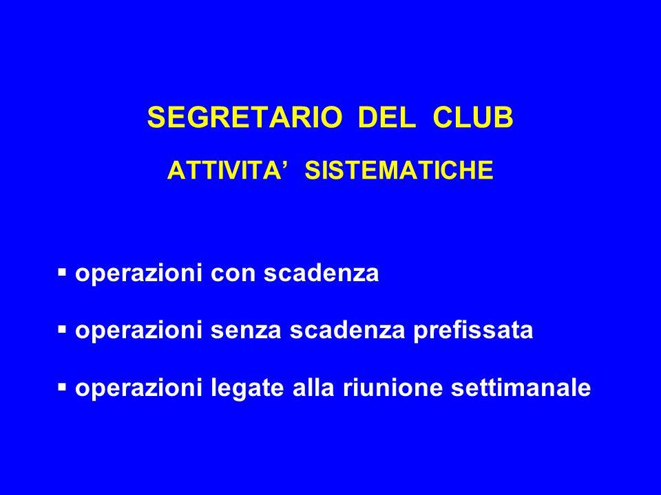SEGRETARIO DEL CLUB ATTIVITA' SISTEMATICHE