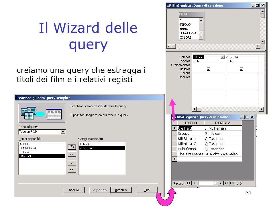 Il Wizard delle query creiamo una query che estragga i titoli dei film e i relativi registi