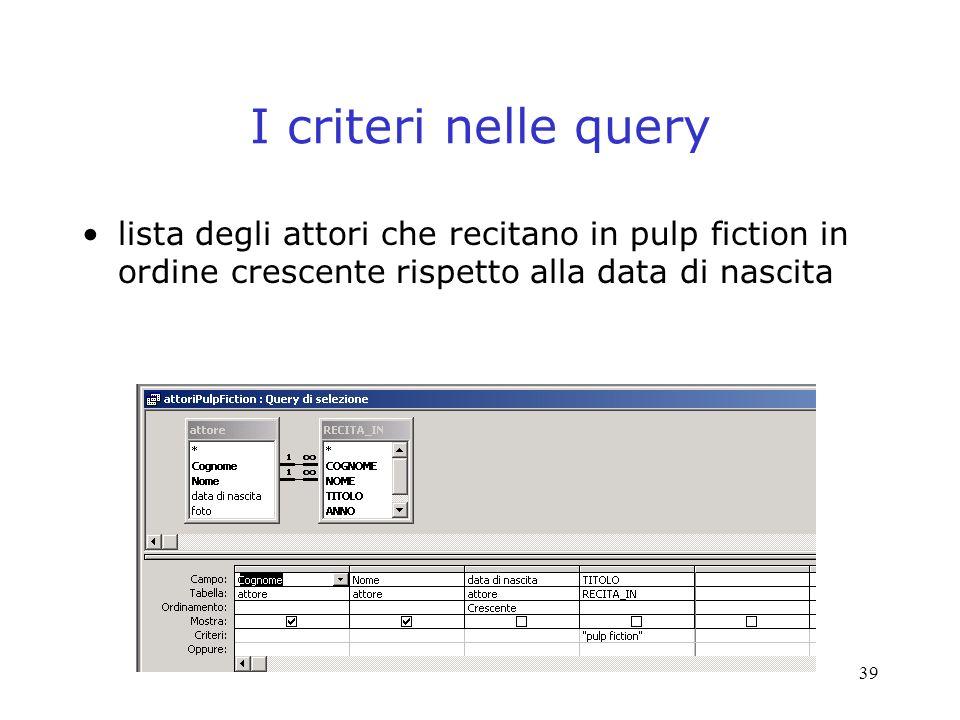 I criteri nelle query lista degli attori che recitano in pulp fiction in ordine crescente rispetto alla data di nascita.