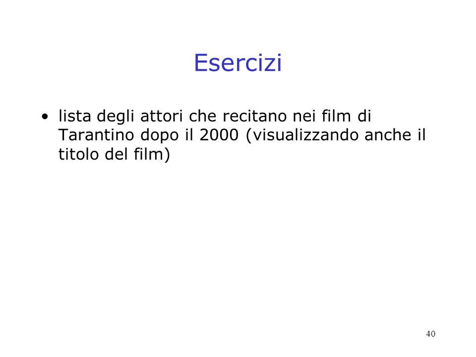 Esercizi lista degli attori che recitano nei film di Tarantino dopo il 2000 (visualizzando anche il titolo del film)