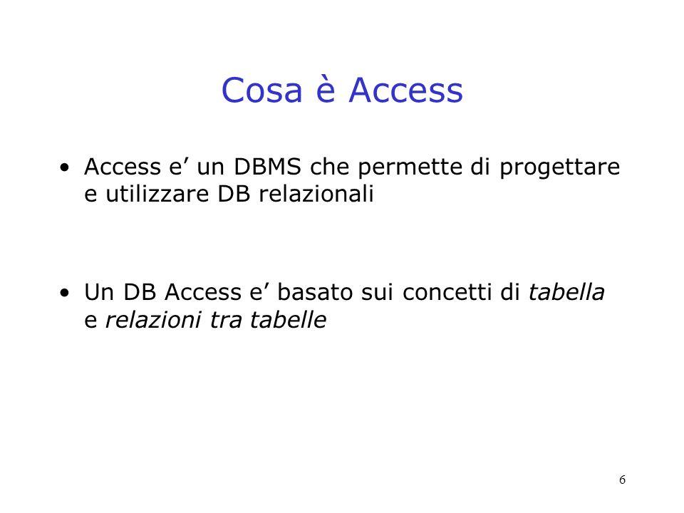 Cosa è Access Access e' un DBMS che permette di progettare e utilizzare DB relazionali.